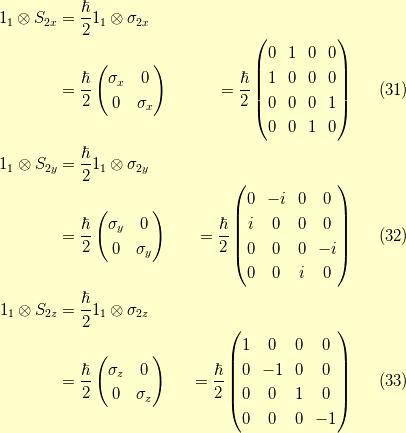 1_{1} \otimes S_{2x} &= \dfrac{\hbar}{2} 1_{1} \otimes \sigma_{2x} \\&= \dfrac{\hbar}{2} \begin{pmatrix}\sigma_x & 0 \\ 0 & \sigma_x\end{pmatrix}&= \dfrac{\hbar}{2} \begin{pmatrix}0 & 1 & 0 & 0 \\1 & 0 & 0 & 0 \\0 & 0 & 0 & 1 \\0 & 0 & 1 & 0 \end{pmatrix}\tag{31} \\1_{1} \otimes S_{2y} &= \dfrac{\hbar}{2} 1_{1} \otimes \sigma_{2y} \\&= \dfrac{\hbar}{2} \begin{pmatrix}\sigma_y & 0 \\0 & \sigma_y\end{pmatrix}&= \dfrac{\hbar}{2} \begin{pmatrix}0 & -i & 0 & 0 \\i & 0 & 0 & 0 \\0 & 0 & 0 & -i \\0 & 0 & i & 0 \end{pmatrix}\tag{32} \\1_{1} \otimes S_{2z} &= \dfrac{\hbar}{2} 1_{1} \otimes \sigma_{2z} \\&= \dfrac{\hbar}{2} \begin{pmatrix}\sigma_z & 0 \\ 0 & \sigma_z\end{pmatrix}&= \dfrac{\hbar}{2} \begin{pmatrix}1 & 0 & 0 & 0 \\0 & -1 & 0 & 0 \\0 & 0 & 1 & 0 \\0 & 0 & 0 & -1 \end{pmatrix}\tag{33}