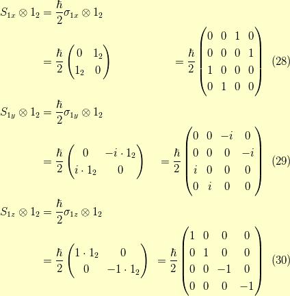 S_{1x} \otimes 1_{2} &= \dfrac{\hbar}{2} \sigma_{1x} \otimes 1_{2} \\&= \dfrac{\hbar}{2} \begin{pmatrix}0 & 1_2 \\ 1_2 & 0\end{pmatrix}&= \dfrac{\hbar}{2} \begin{pmatrix}0 & 0 & 1 & 0 \\0 & 0 & 0 & 1 \\1 & 0 & 0 & 0 \\0 & 1 & 0 & 0 \end{pmatrix}\tag{28} \\S_{1y} \otimes 1_{2}  &= \dfrac{\hbar}{2} \sigma_{1y} \otimes 1_{2} \\&= \dfrac{\hbar}{2} \begin{pmatrix}0 & -i \cdot 1_2 \\ i \cdot 1_2 & 0\end{pmatrix}&= \dfrac{\hbar}{2} \begin{pmatrix}0 & 0 & -i & 0 \\0 & 0 & 0 & -i \\i & 0 & 0 & 0 \\0 & i & 0 & 0 \end{pmatrix}\tag{29} \\S_{1z} \otimes 1_{2}  &= \dfrac{\hbar}{2} \sigma_{1z} \otimes 1_{2} \\&= \dfrac{\hbar}{2} \begin{pmatrix}1 \cdot 1_2 & 0 \\ 0 & -1 \cdot 1_2\end{pmatrix}&= \dfrac{\hbar}{2} \begin{pmatrix}1 & 0 & 0 & 0 \\0 & 1 & 0 & 0 \\0 & 0 & -1 & 0 \\0 & 0 & 0 & -1 \end{pmatrix}\tag{30}